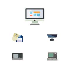 Flat icon laptop set of pc vintage hardware vector