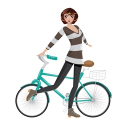 Girl with bicycle4 vector
