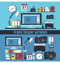 Graphic designer workplace concept vector