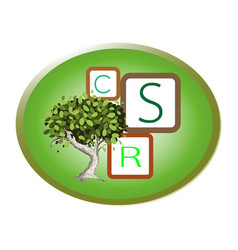 Green plant with corporate social responsibility c vector