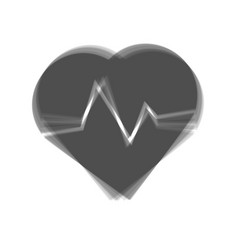 Heartbeat sign gray icon vector