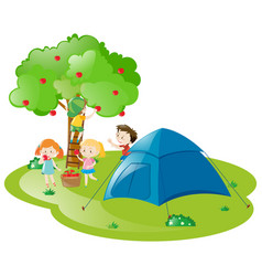 Kids camping out by the apple tree vector