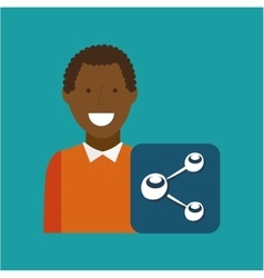 Man afroamerican using laptop share media icon vector