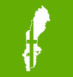 map of sweden icon green vector image vector image