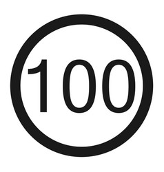 Maximum speed limit 100 sign line icon vector