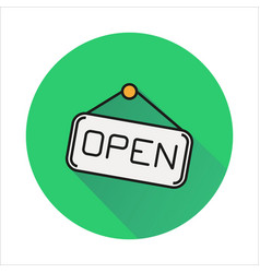 Open hanging door plate simple icon on circle vector