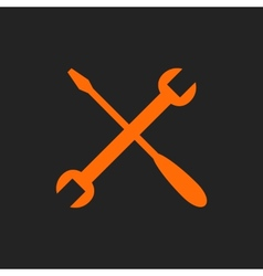 Orange crossed tools on black vector