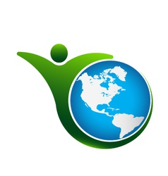 Person fit world logo vector image vector image