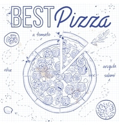 Pizza with salami on a notebook page vector