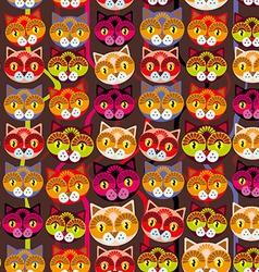 Seamless background with muzzle of cats on brown vector image