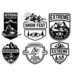 Set of snowmobile emblems isolated on white vector