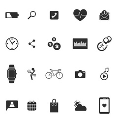smart watch wearable technology icons set vector image