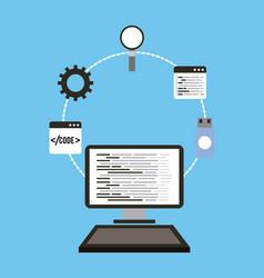 Technology computer programming usb magnifier vector