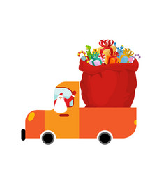 truck santa and red sack of gifts christmas car vector image vector image