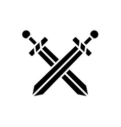 two swords icon black sign vector image vector image