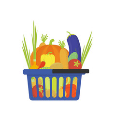 Vegetable shop basket flat style vector