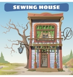 Vintage sewing house in the wild west series card vector