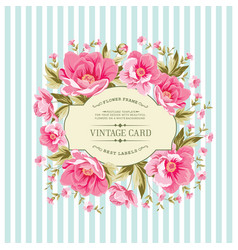 wedding card with rose flowers vector image vector image