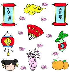 Doodle of chinese colorful collection vector