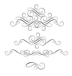 Set of vintage flourish decorative art calligraphy vector