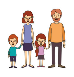 Color image caricature family group with parents vector