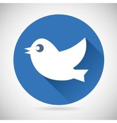 Round blue social media web or internet icon bird vector