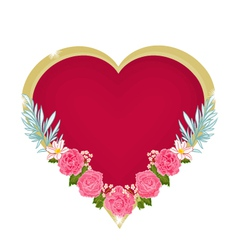 Valentines day hearts and pink roses background vector