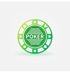 Poker chip green icon vector