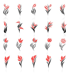 Flowers logo template set vector