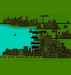 city with port vector image
