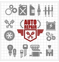 Car service icons and labels set vector