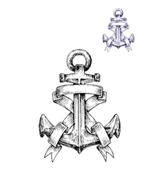 Vintage heraldic sketched anchor with ribbons vector