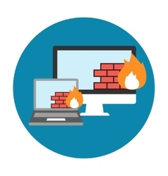 Firewall icon flat vector