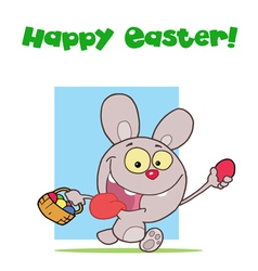 Easter greeting above a rabbit running with eggs vector