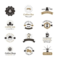 Set of coffee shop sign cafe symbol espresso vector