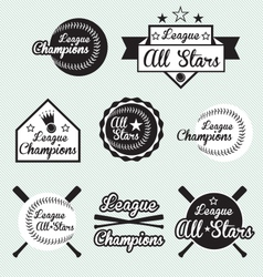 Baseball All Star Labels vector image