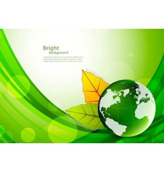 Background with globe and leaves vector image