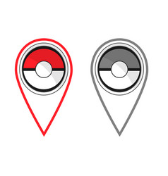 Active and passive map pokeball style flat pins vector