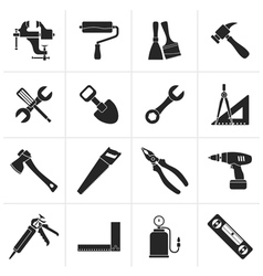 Black building and construction work tool icons vector