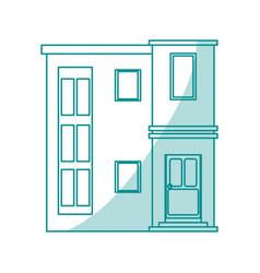 Blue shading silhouette cartoon facade modern vector
