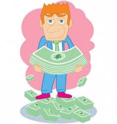 businessman hold money vector image vector image