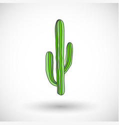 cactus icon with round shadow vector image