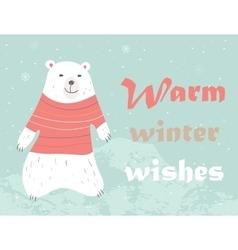 Christmas card with polar bear vector