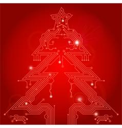 Christmas tree circuit board vector