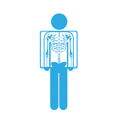 Color silhouette pictogram patient and radiography vector