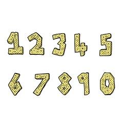 Comic cartoon wooden numbers vector