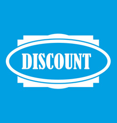 Discount oval label icon white vector