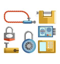 door locks different types padlock latches or vector image vector image