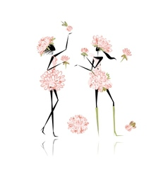 Floral girls for your design vector image vector image