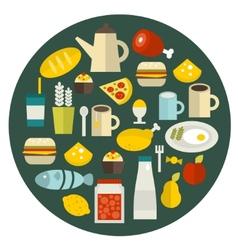 Food round banner vector
